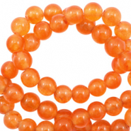 4 mm natuursteen kralen rond Jade Persimmon orange opal