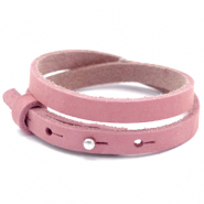 Cuoio armbanden nubuck leer 8 mm dubbel voor 12 mm cabochon Pressed rose red
