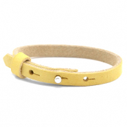 Cuoio armbanden nubuck leer 8 mm voor 12 mm cabochon Mineral yellow