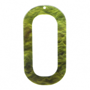 Resin hangers langwerpig ovaal 56x30mm Olive green