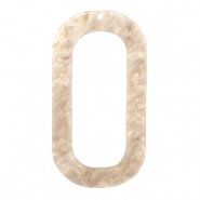 Resin hangers langwerpig ovaal 56x30mm Light semolina beige