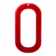 Resin hangers langwerpig ovaal 56x30mm Cherry red