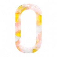 Resin hangers langwerpig ovaal 56x30mm Pink-yellow