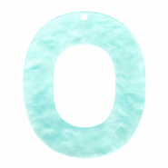Resin hangers ovaal 48x40mm Bleached aqua blue