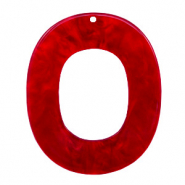 Resin hangers ovaal 48x40mm Cherry red