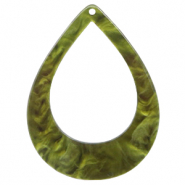 Resin hangers druppel 45x34mm Olive green