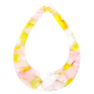 Resin hangers druppel 45x34mm Pink-yellow