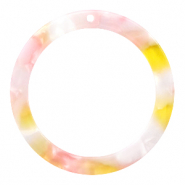 Resin hangers rond 35mm Pink-yellow