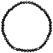 Top facet armbandjes 4x3mm Jet black-pearl shine coating