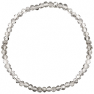 Top facet armbandjes 4x3mm Greige crystal-pearl shine coating
