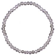 Top facet armbandjes 4x3mm Grey crystal-pearl shine coating