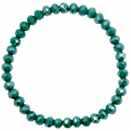 Top facet armbandjes 6x4mm Petrol green-pearl shine coating