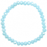 Top facet armbandjes 6x4mm Light blue-pearl shine coating