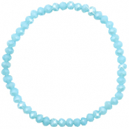 Top facet armbandjes 4x3mm Light blue-pearl shine coating