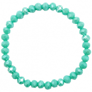 Top facet armbandjes 6x4mm Turquoise green-pearl shine coating