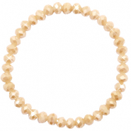 Top facet armbandjes 6x4mm Semolina beige-pearl shine coating