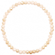 Top facet armbandjes 4x3mm Nude beige-half pearl shine coating