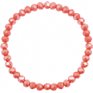Top facet armbandjes 6x4mm Vintage rose peach-pearl shine coating