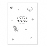 Sieraden kaartjes 'I love you to the moon and back' White