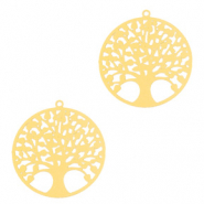 Hangers bohemian tree of life 15mm Goud (nikkelvrij)