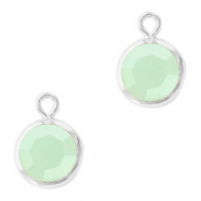 DQ Hangers van crystal glas rond 6mm Silver-Powder opal green