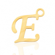 Roestvrij stalen (RVS) Stainless steel bedels initial E Goud
