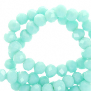 Top Facet kralen 3x2 mm disc Bleached aqua turquoise-pearl shine coating