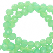 Top Facet kralen 4x3 mm disc Green opal-pearl shine coating