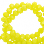 Top Facet kralen 8x6 mm disc Charlock yellow-pearl shine coating
