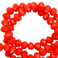 Top Facet kralen 6x4 mm disc Living coral red-pearl shine coating
