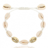 Trendy enkelbandjes Kauri Off white-gold