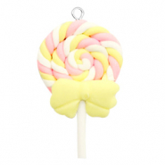 Bedel 1 oog fimo ice lolly Yellow-pink