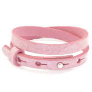 Cuoio armbanden leer 8 mm dubbel voor 12 mm cabochon Pressed rose