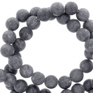 6 mm natuursteen kralen rond mountain jade mat Anthracite grey