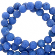 8 mm natuursteen kralen rond mountain jade mat Deep ultramarine blue