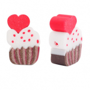 Polymeer kralen cupcake Brown-red