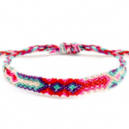 Trendy armbanden/enkelbandjes Brazilian style| One size fits all Multicolour pink-blue