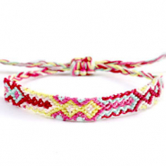 Trendy armbanden/enkelbandjes Brazilian style| One size fits all|Voordeelverpakking Multicolour yellow-pink