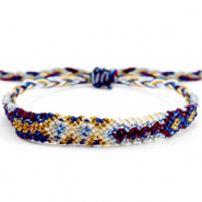 Trendy armbanden/enkelbandjes Brazilian style| One size fits all|Voordeelverpakking Multicolour white-blue
