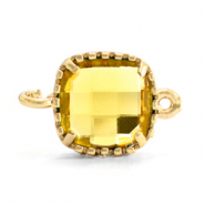 Tussenstukken van crystal glas vierkant 9x9mm Yellow-gold