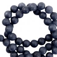 6 mm natuursteen kralen rond blue stone mat Dark midnight blue