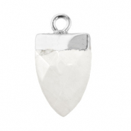 Natuursteen hangers tand Marble white-silver