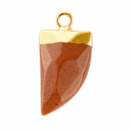 Natuursteen hangers tand Sugar almond brown glitter-gold
