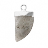 Natuursteen hangers tand Neutral grey-silver
