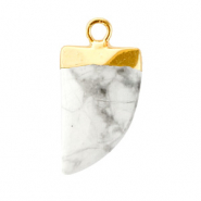 Natuursteen hangers tand Marble white-gold