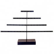 Sieraad display pyramide met houten voet Black-dark brown