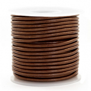 DQ Leer rond 3 mm Pecan brown metallic