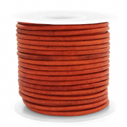 DQ Leer rond 3 mm Vintage fired orange