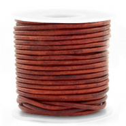 DQ Leer rond 3 mm Vintage burgundy red