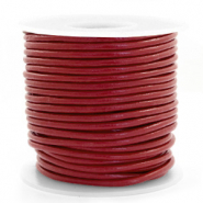 DQ Leer rond 3 mm Carmine red